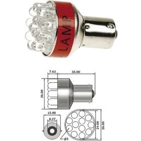 Lampada Auto Baioneta T2 12v 12x LED Branco ACLL06W - 12498LED