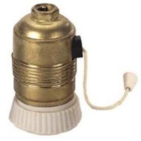 Suporte Lâmpada E27 Latão C/ Interruptor de Cordel - 165H