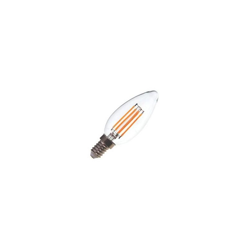 Lampada E12 Led Vela: Lâmpada E14 VELA Decorativa LED Filamento 4w Branco Quente