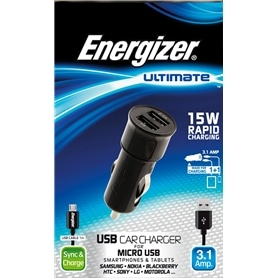 CARREG AUTO DUPLO USB->MICRO-USB ENERGIZER ULTIMATE 3.1A - 1411.1310