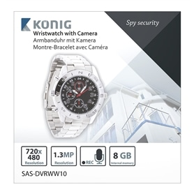 RELOGIO COM CAMERA VIDEO INCORPORADA KONIG SAS-DVRWW10 8GB - 1703.