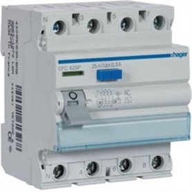 Interruptor Diferencial 4x25A 300mA Hager CFC-425P - 1804.0150
