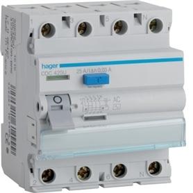 Interruptor Diferencial 4x25A 30mA Hager CDC-425P - 1804.0151