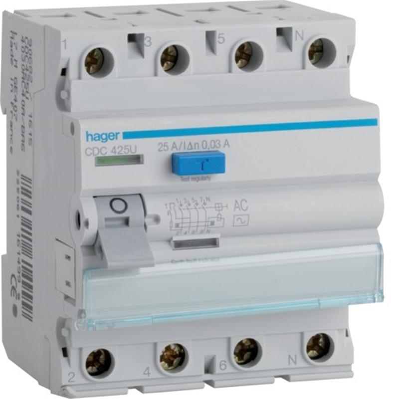 7b3fb82e927 Interruptor Diferencial 4x25A 30mA Hager CDC-425P - MATERIAL ...