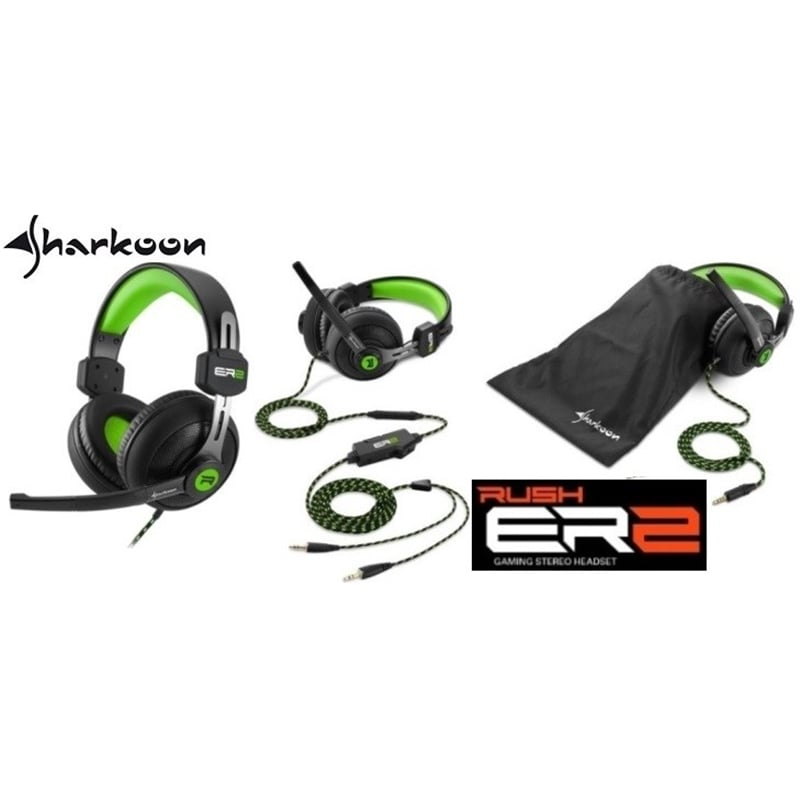 HEADSET GAMING 3,5MM SHARKOON RUSH ER2 GREEN - 1805.1892