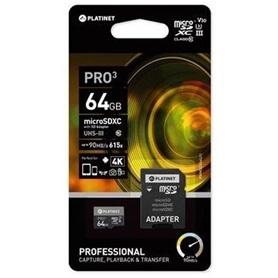 CARTAO MICRO SDXC 64GB+ADAPT SD CL10 90MB/S PLATINET PRO3 - 1905.2808