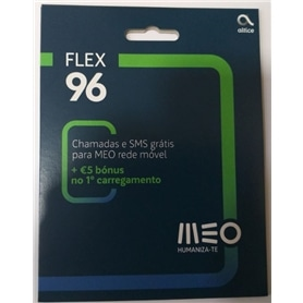 CARTAO TLM MEO FLEX 96 SALDO 2,5EUROS + 5EUROS 1ºCARREGAMENT - 1606.1301