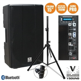 "COLUNA PRO ACTIVA 15"" USB/SD/FM/BLUETOOTH VSOUND VSSPRO15APU - 1906.1151"