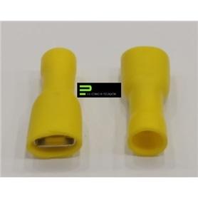 Terminal Ficha 6,3mm Isolado Femea Amarelo - 60500