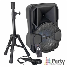 "COLUNA C/ BATERIA 8""+MICRO+TRIPÉ PARTY-MOBILE8-SET - 1909.2650"