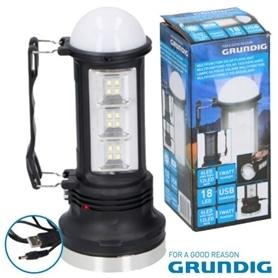 Lanterna de Campismo LED GRUNDIG 07182 C/PAINEL SOLAR + BAT - 1910.1950