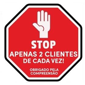 Sinalética Placa PVC: Limitador Clientes - STOP 30x30cm - 2004.0396