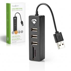 HUB USB 2.0 3 PORTAS + LEITOR CARTÕES SD/MICROSD NEDIS - 2004.1050