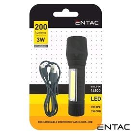 Lanterna Led Recarregavel 200Lm 3w Entac - 2007.0794
