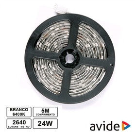 FITA 600 LEDS SMD3528 12V 5M IP20 24W 6400K BRANCO FRIO - 2103.1052