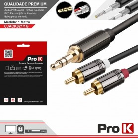 CABO JACK 3,5mm 2xRCA M-M 1,0M PROK - 2104.2154
